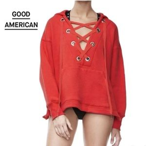 GOOD AMERICAN Oversized Lace-Up Red Grommet Hoodie